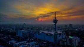 Härligt flyg- landskap av Alor Setar Malaysia Den mest berömda Alor Setar Tower i Malaysia royaltyfri fotografi