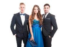 Härligt folk, en kvinna och två manliga modeller Arkivfoton