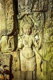 Härligt forntida kalva av Apsara i Preah Khan Temple Royaltyfri Bild