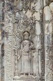 Härligt forntida snida på stenen på Angkor Wat Royaltyfri Bild