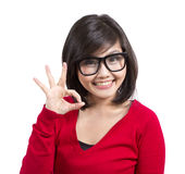 Härligt göra en gest för ung flicka Arkivfoton