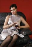 härligt glass winekvinnabarn Arkivfoto
