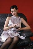 härligt glass winekvinnabarn Royaltyfria Bilder