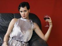härligt glass winekvinnabarn Arkivbild