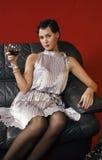 härligt glass winekvinnabarn Royaltyfri Bild