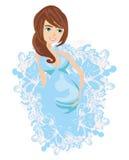 Härligt gravid flickakort Royaltyfri Fotografi