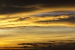 Härligt guld- solsken att reflektera och fördela med himmel och det mörka molnet på asia arkivfoton