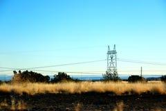 Härligt gult ogräsfältlandskap med det elektriska tornet i Nevada, sänder 66 i USA Royaltyfri Foto