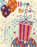 Härligt hälsningkort för lycklig födelsedag med gåvan och ballonger i ljusa färger Söt tecknad filmvektor kanin för födelsedagkor Arkivbilder
