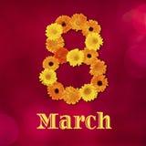 Härligt hälsningkort för mars 8 Royaltyfri Fotografi