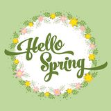 Härligt hälsningkort med blommor på en vit bakgrund och en stiliserad inskriftHello vår Vårmall för Royaltyfri Fotografi