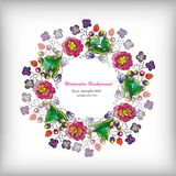 Härligt hälsningkort med den blom- kransen Royaltyfri Fotografi