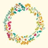 Härligt hälsningkort med den blom- kransen Royaltyfria Bilder