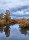 Härligt höstflodlandskap med färgrika träd royaltyfria foton