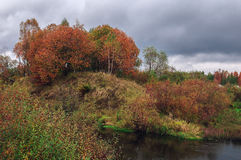 Härligt höstflodlandskap med färgrika träd royaltyfri foto