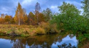 Härligt höstflodlandskap med färgrika träd arkivfoto