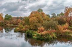 Härligt höstflodlandskap med färgrika träd fotografering för bildbyråer
