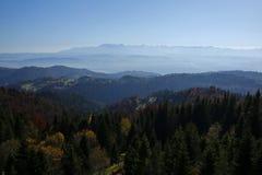 Härligt höstlandskap av Gorce och Tatra berg Arkivfoton