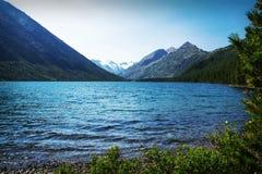 Härligt höstlandskap, bergsjö, Ryssland, Sibirien, Arkivbild