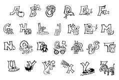 Härligt hand-målat alfabet för färga bok för att barn med lyckliga bilder och barn ska lära abc-bokstäver, handstil, läsning royaltyfri illustrationer
