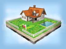 Härligt hem- till salu realestate tecken Liten stuga på ett stycke av jord i tvärsnitt illustration 3d Arkivfoto