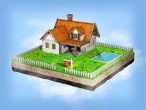 Härligt hem- till salu realestate tecken Liten stuga på ett stycke av jord i tvärsnitt illustration 3d Royaltyfria Foton