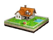 Härligt hem- till salu realestate tecken Liten stuga på ett stycke av jord i tvärsnitt illustration 3d Arkivfoton