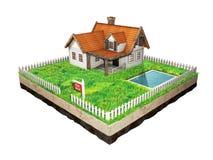 Härligt hem- till salu realestate tecken Liten stuga på ett stycke av jord i tvärsnitt illustration 3d Arkivbild