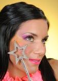 härligt idérikt gör stjärnan upp kvinna Royaltyfri Bild