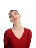 Härligt iklätt rött se för ung kvinna upp. royaltyfria bilder