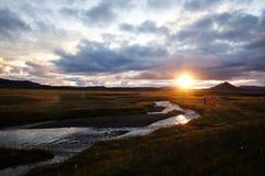 Härligt isländskt landskap på Myvatn sjön iceland arkivbild