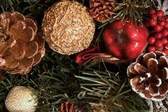 Härligt julpynt: en kotte med snö, ett rött äpple, en guld- kotte och en guld- boll Royaltyfria Foton