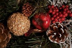 Härligt julpynt: en kotte med snö, ett rött äpple, en guld- kotte och en guld- boll, en röd hårrulle, Arkivbild