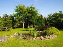 Härligt klassiskt trädgårds- fiskdamm som arbeta i trädgården bakgrund royaltyfria foton