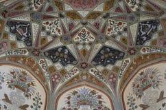 Härligt konstarbete på väggarna av Amer Fort i Jaipur Rajasthan Indien Fotografering för Bildbyråer