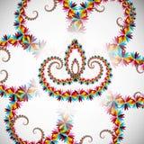 Härligt konstnärligt med blom- färgrik garnering för diwalife stock illustrationer