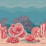 Härligt korallkort för tryck royaltyfri illustrationer