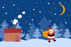 Härligt kort för vektorbanerhälsning med Santa Claus royaltyfri illustrationer