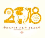 Härligt kort med den dekorativa hunden 2018 Arkivbilder