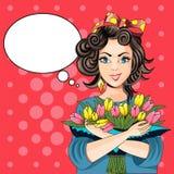 Härligt kort med en flicka och en bukett av tulpanvektorillust Royaltyfria Bilder