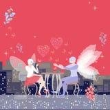 Härligt kort Utrymme för text Drömlikt datum av bevingade feer Den härliga kvinnan dricker te, och mannen bekänner förälskelse vektor illustrationer