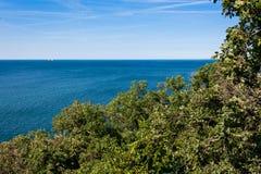 Härligt kust- landskap med Adriatiskt havet nära Trieste i Friuli-Venezia Giulia, Italien Royaltyfri Foto