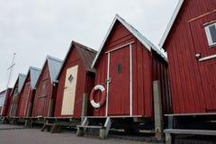 härligt kustfiske förlägga i barack red Royaltyfri Bild