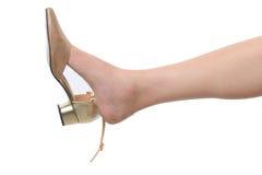 Härligt kvinnligt ben med den guld- skon Arkivbild