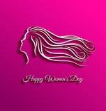 Härligt långt hår för internationell kvinnadag Arkivbilder