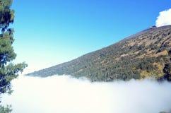 Härligt landskap av bergmaximumet av Rinjani Arkivfoton