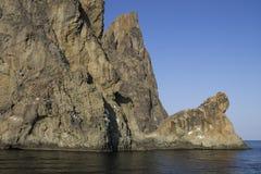 Härligt landskap av Blacket Sea 2008 crimean berg sörjer sommar Fotografering för Bildbyråer