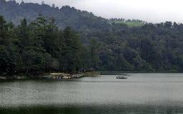 Härligt landskap av den enorma sjön, med träd och mist skapar att lugna atmosfär Royaltyfri Foto