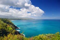 Härligt landskap av den Kauai ön Arkivfoton