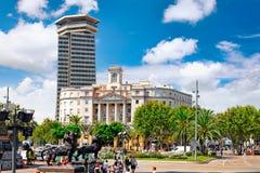 Härligt landskap av den stads- sikten Barcelona Arkivfoto